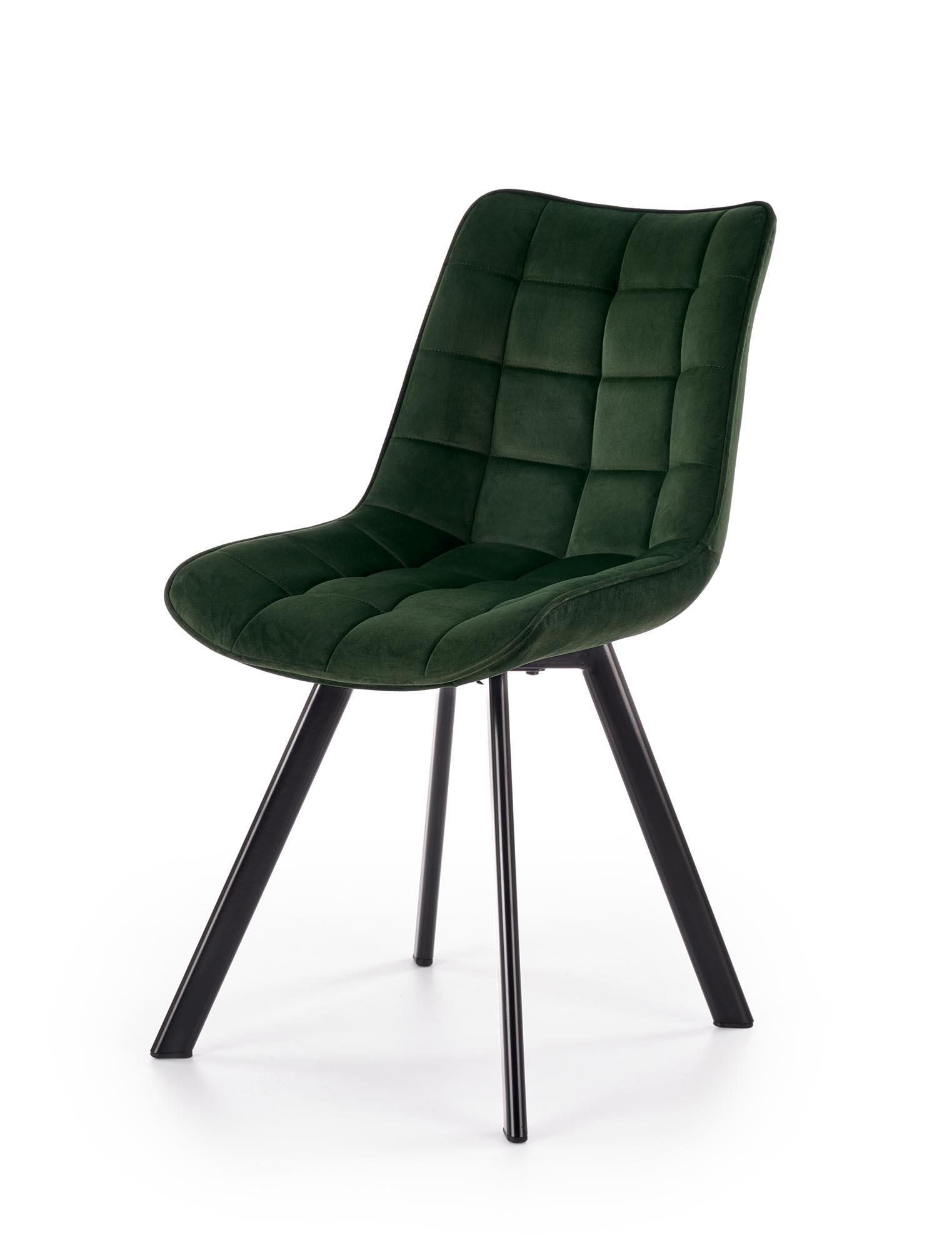 K332 krzesło nogi - czarne, siedzisko - ciemny zielony