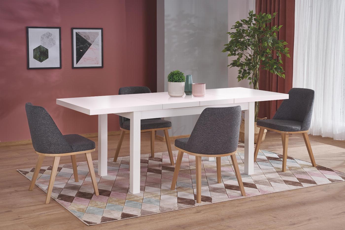 TIAGO 2 stół rozkładany 140-220/80 blat: biały, nogi: biały