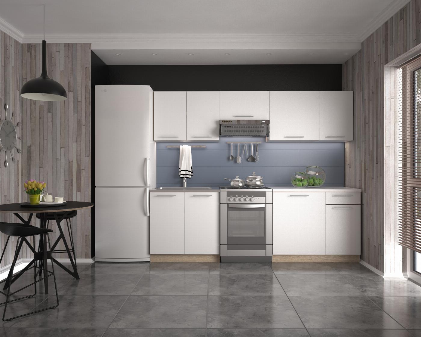 DARIA 240 kuchnia zestaw korpus: dąb sonoma, fronty: białe (11p=1kpl)