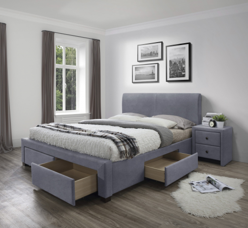 MODENA 3 łóżko z szufladami popiel velvet
