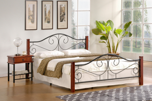 VIOLETTA 140 cm łóżko czereśnia ant./czarny (3p=1szt) ze stelażem