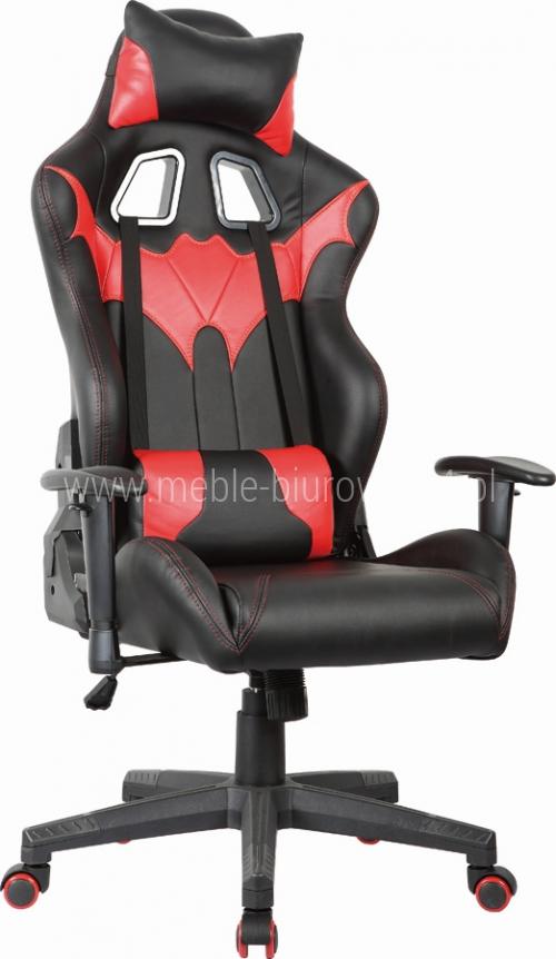 Fotel Obrotowy DEFENDER-1055H  czarno czerwony