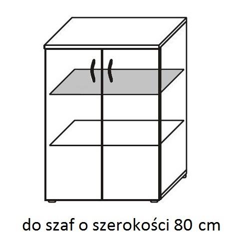 Regał biurowy aktowy PS04 80X39X183H - półki metalowe 80