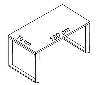 Stół EVS16-18 blat LACOBEL - stelaż otwarty - EVS12 -180 cm