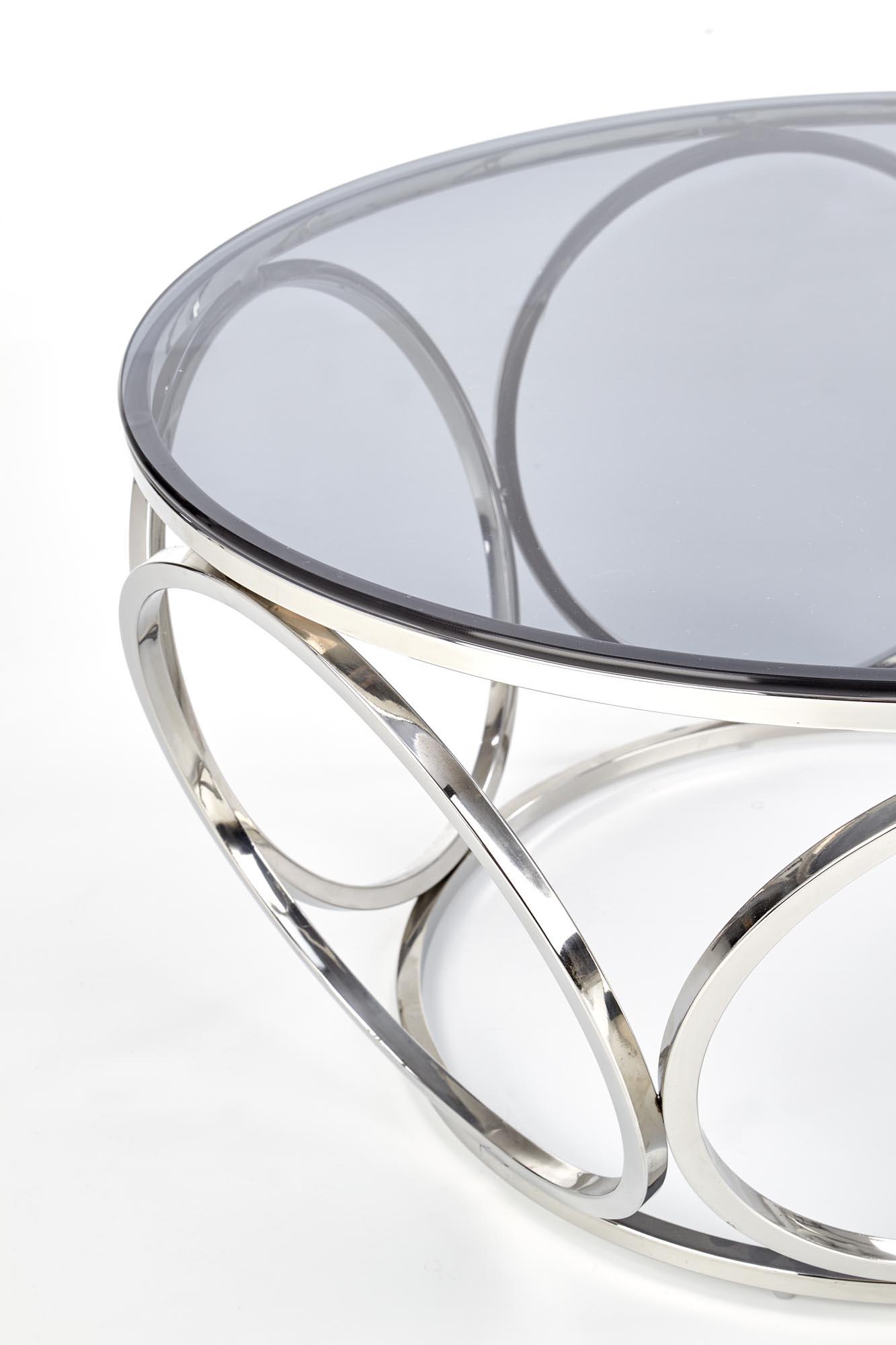 VENUS ława, stelaż - srebrny, szkło - dymiony