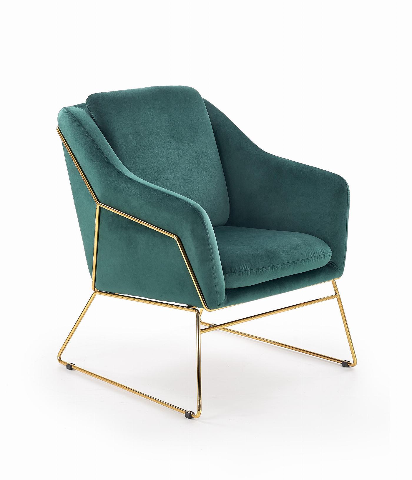 SOFT 3 fotel wypoczynkowy złoty stelaż, ciemny zielony (1p=1szt)