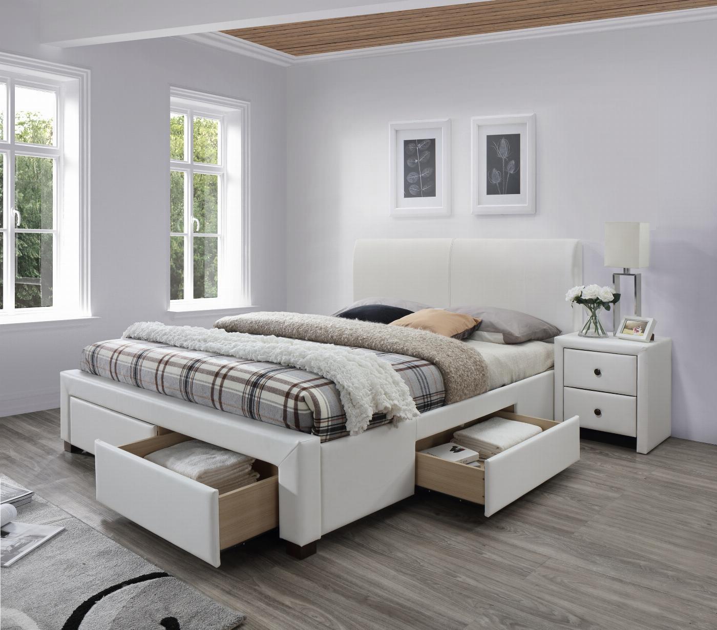 MODENA 2 łóżko tapicerowane z szufladami biały (6p=1szt)