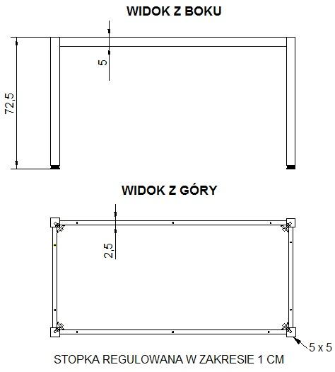 Stelaż do stołu i biurka EF-57/KA nogi kwadratowe 5x5 cm - ALUMINIUM - 156x66
