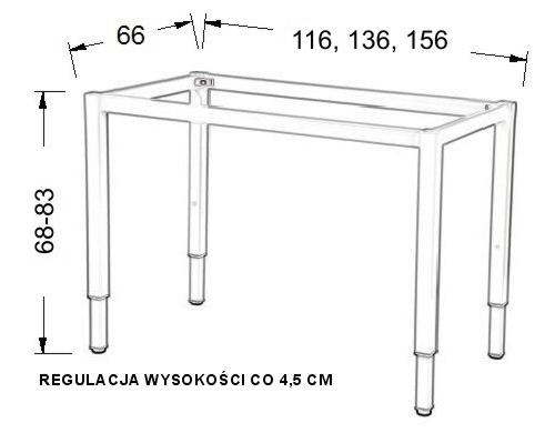 Stelaż regulowany do stołu i biurka EF-57KR/KA nogi kwadrat 5x5 - alu - 156x66