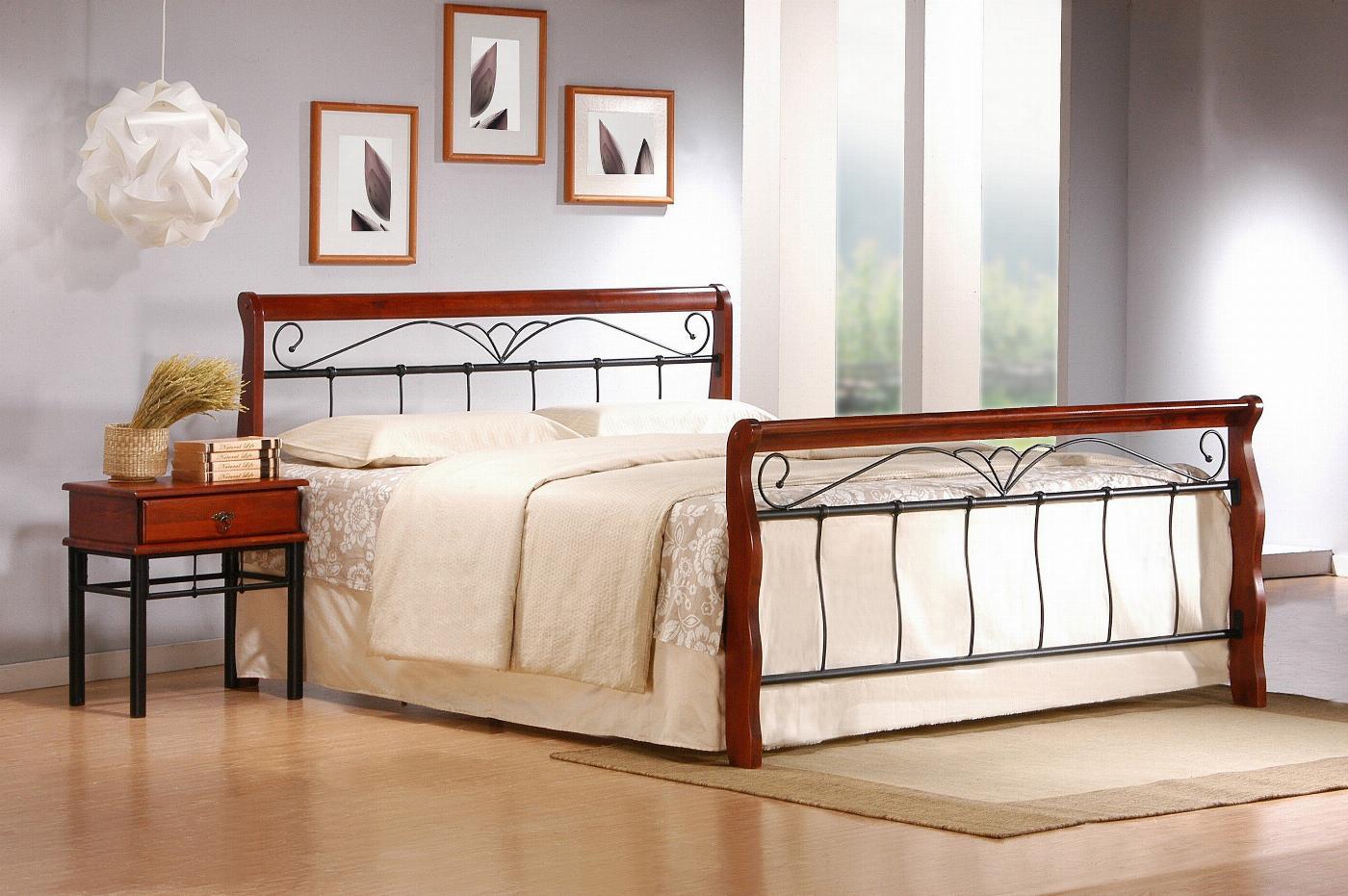 VERONICA łóżko 180 cm czereśnia ant./czarny (4p=1szt.)