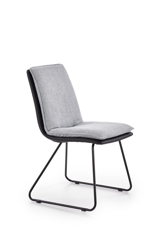 K326 krzesło stelaż - czarny, tapicerka - jasny popiel / czarny (1p=2szt)