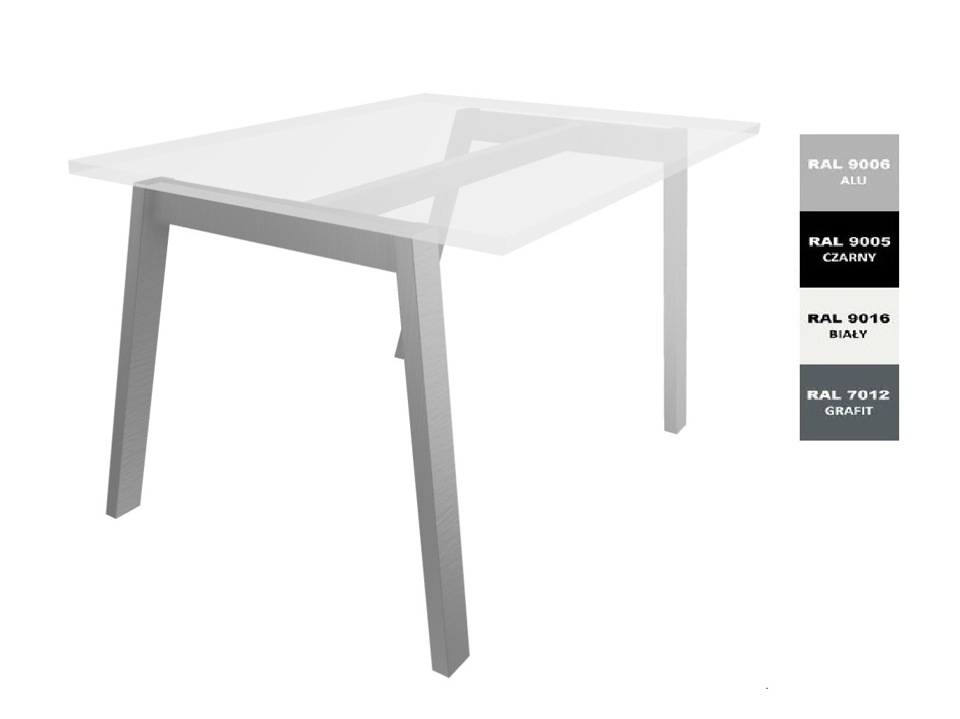 Stelaż metalowy do biurka lub stołu  ST-V - 1 belka podblatowa- głębokość 77 cm